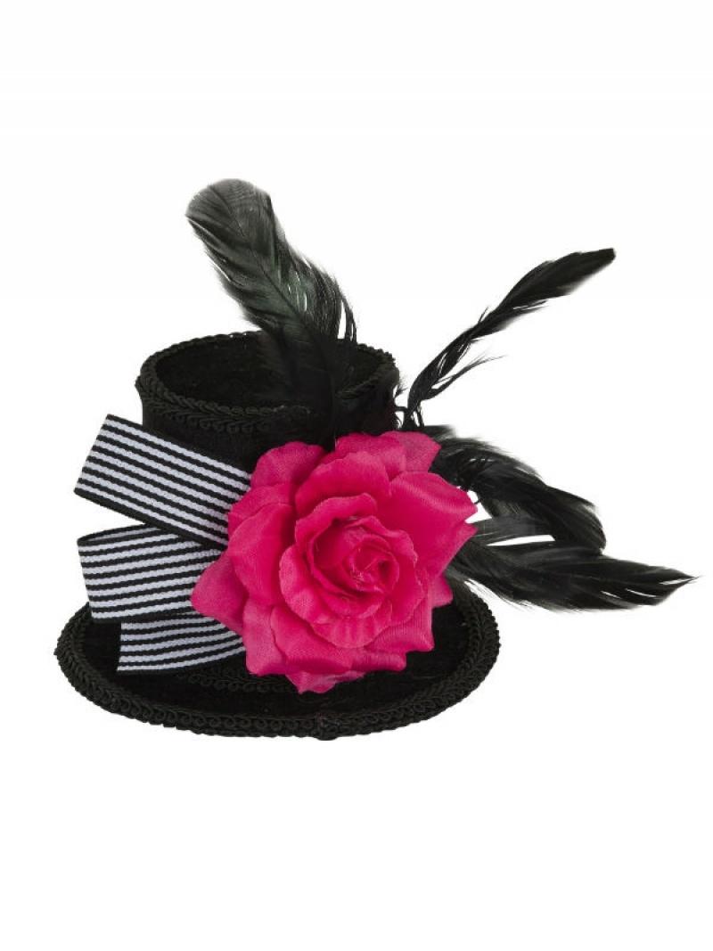 189c5a5c9b765 Harlequin Mini Top Hat with Rose