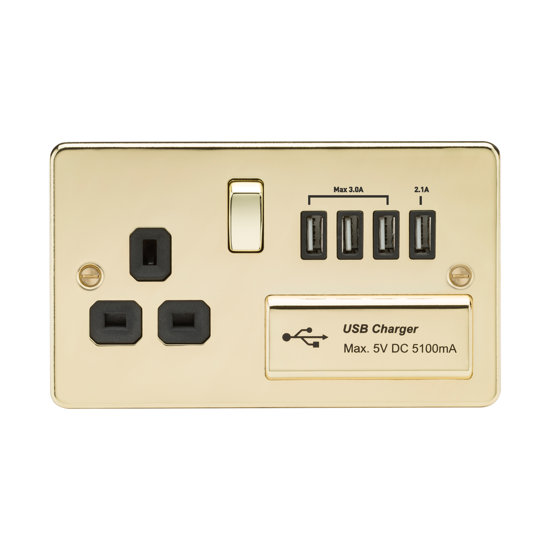FLAT PLATE 1G 13A SWITCHED SOCKET WITH QUAD USB CHARGER 5V DC 5.1A - POLISHED BRASS W/BLACK INSERT