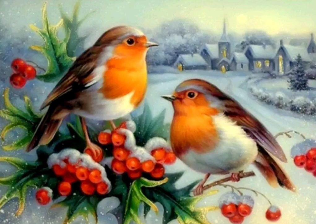 Christmas Bird.Christmas Birds 40x30