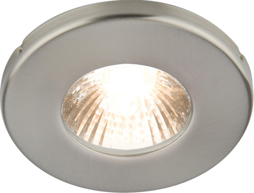 IP54 35W Mains Bathroom Downlight in Brushed Chrome