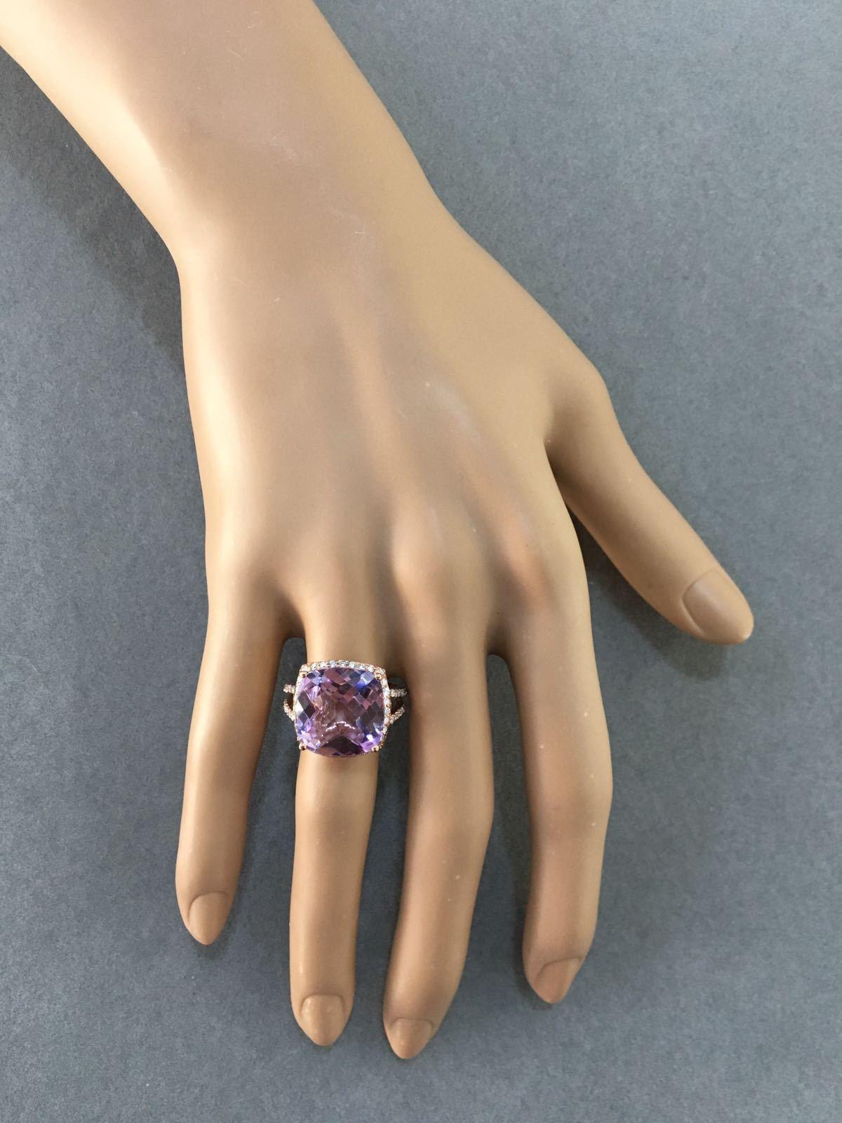Rose Gold Diamond & Pink Amethyst Ring