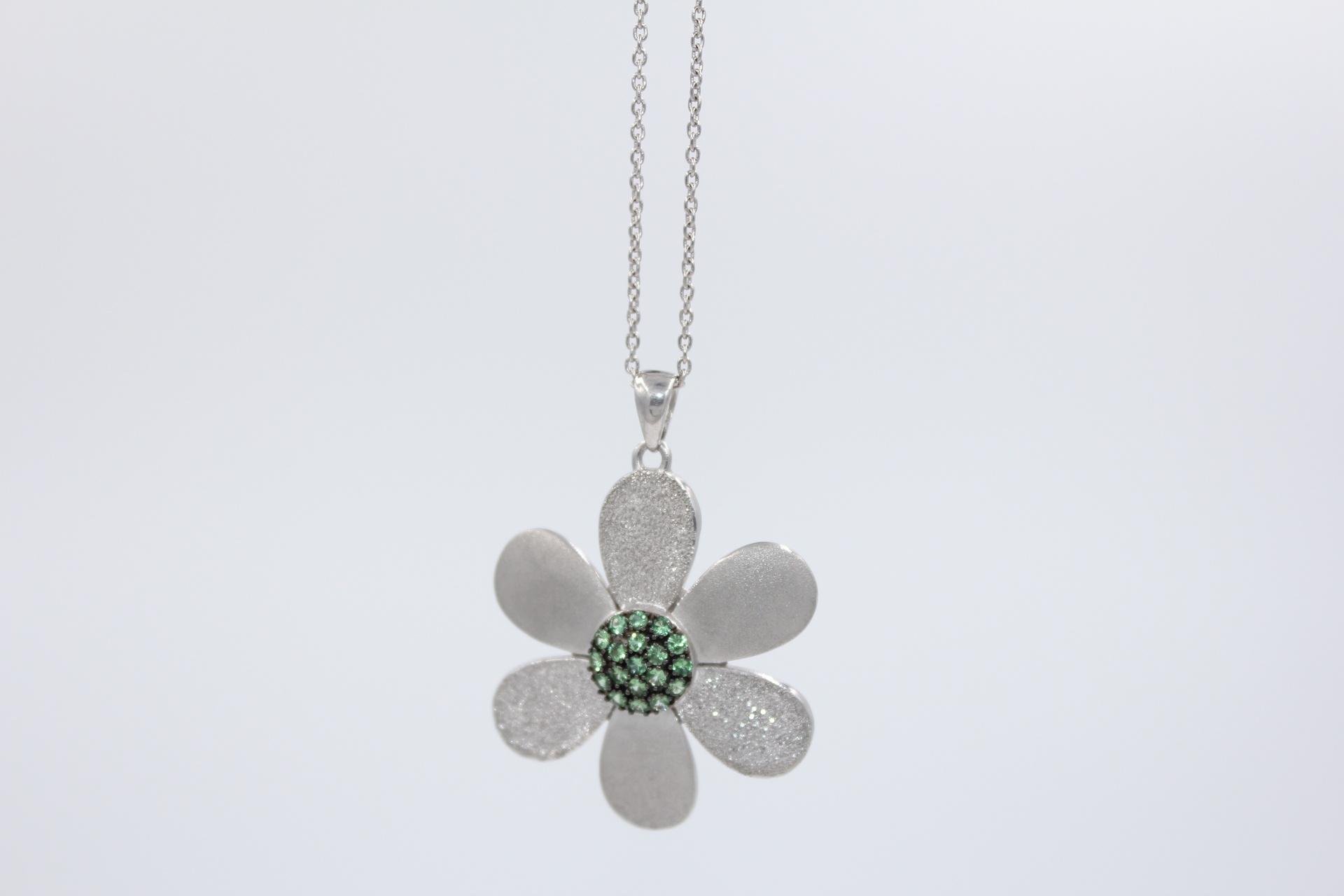 Silver Tsavorite Flower Pendant