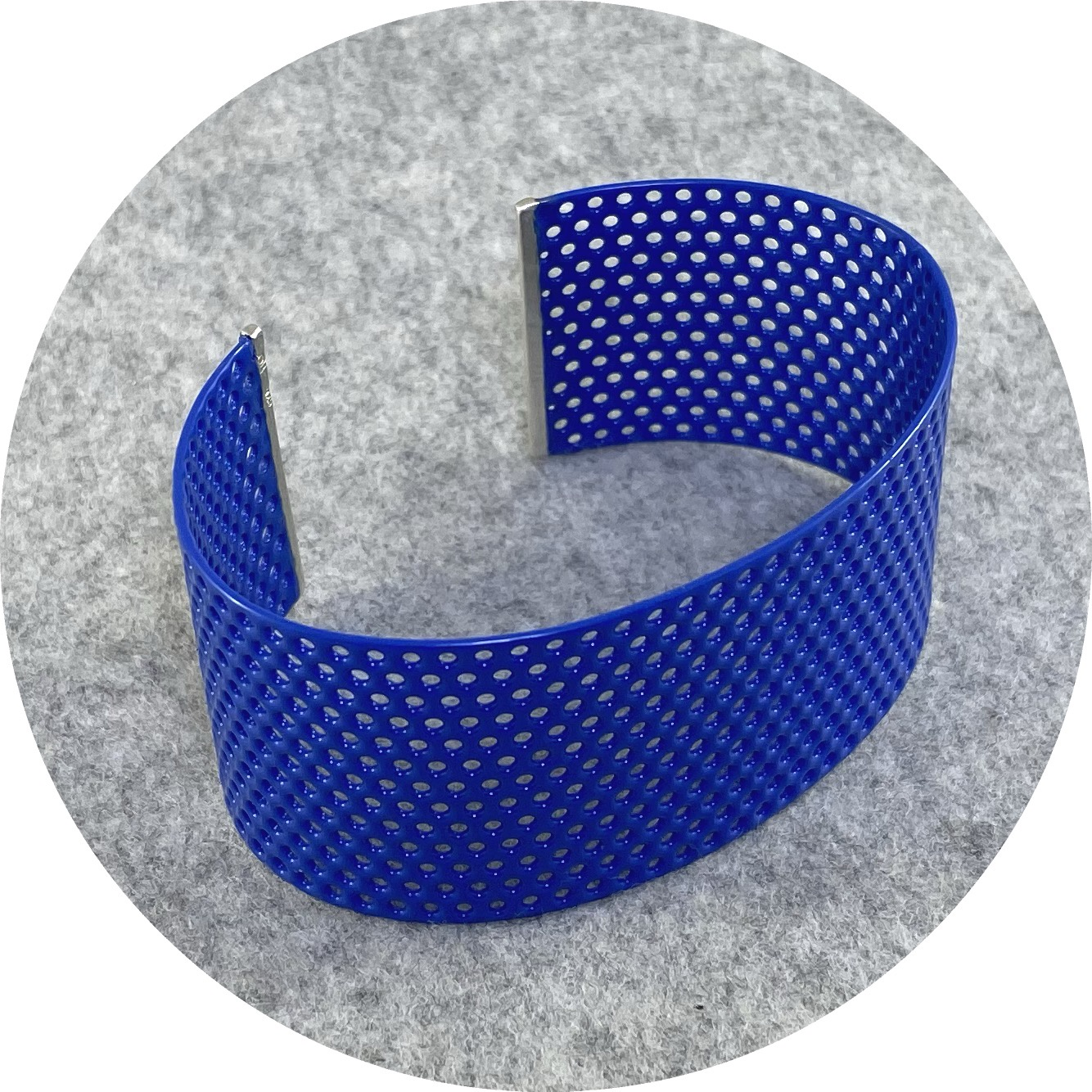 Jin Ah Jo - Blue Perforated Cuff with Straight Silver Line in Mildsteel