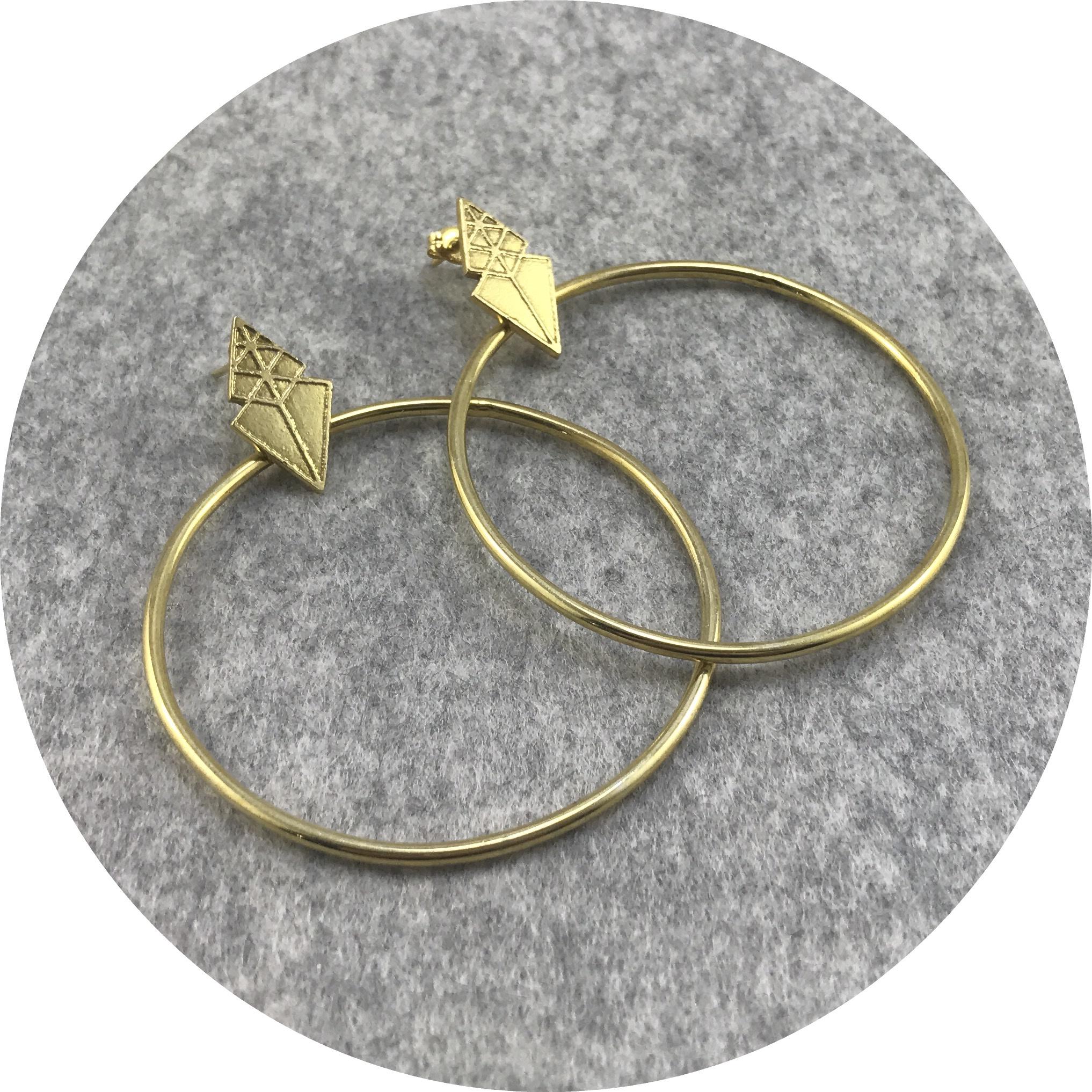 Kimba pham- Artemis Hoops, Gold vermeil.