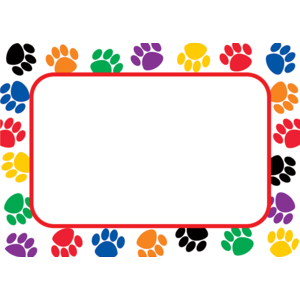 TCR 5168 COLORFUL PAW PRINTS NAMETAG