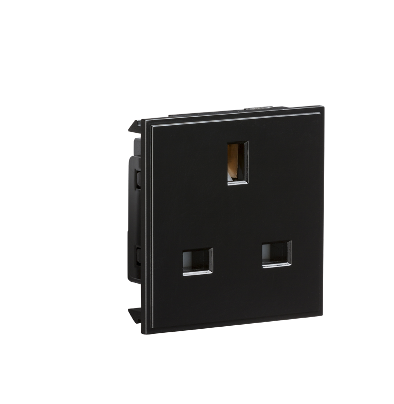 13A 1G Black Unswitched Modular Socket