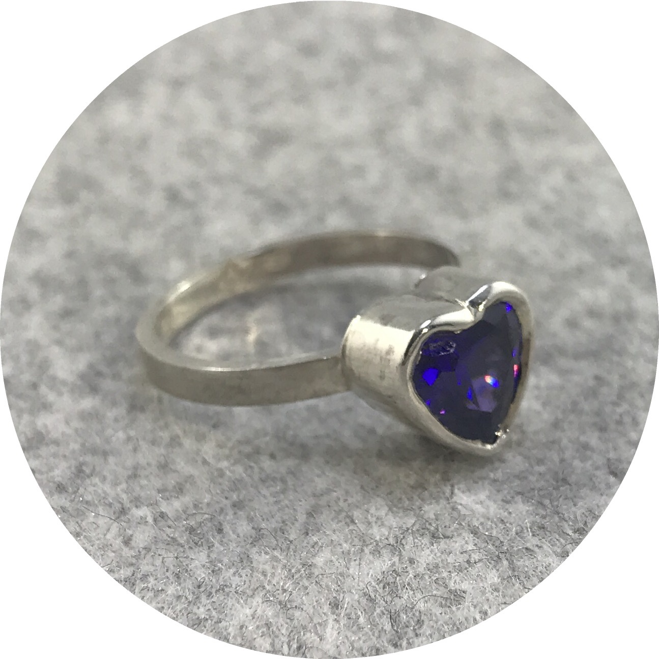 Anastasia Mannix - 'Empress' Ring 2 in Sterling Silver with a Heart Shaped Purple Cubic Zirconia