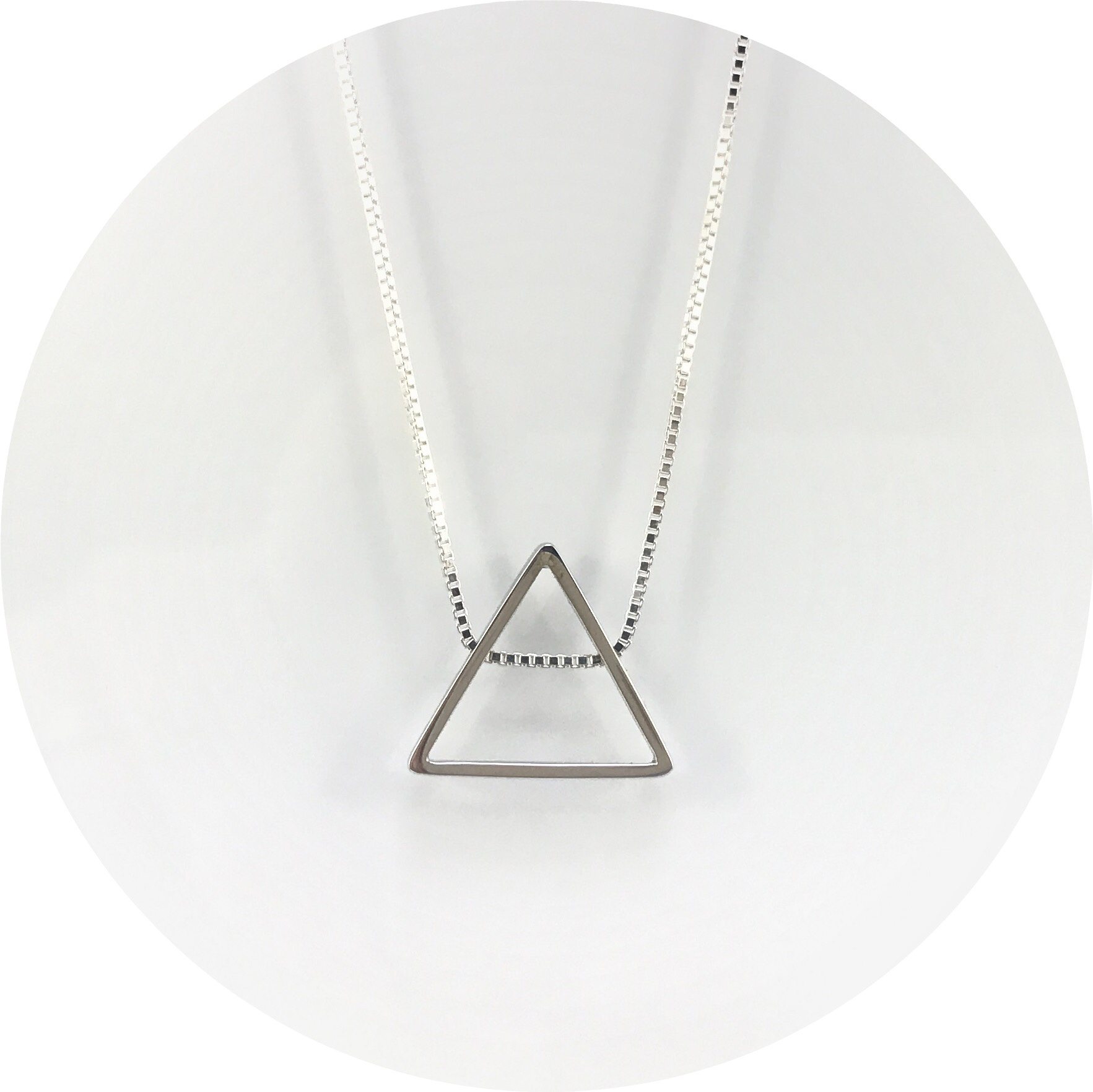 Orion Joel- Triangle sterling silver pendant with 45cm box chain included.