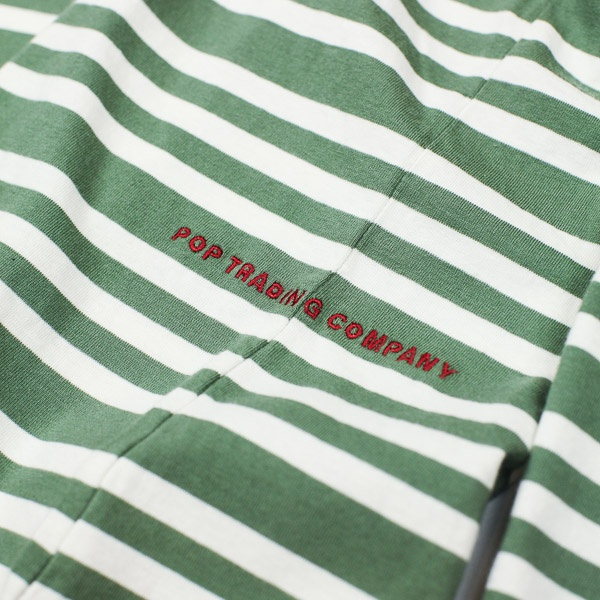 Pop Trading Company Triple Stripe LS Tshirt Olive