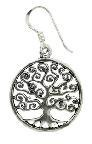 Earrings Tree of Life Spiral 18mm Stg Silver