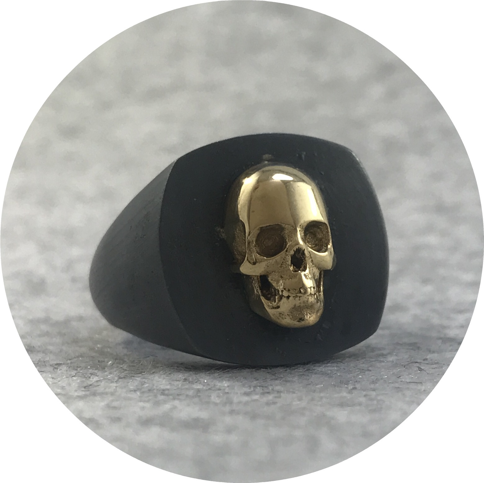 Fin Mahon - Skull Signet Ring in 9ct Yellow Gold and Oxidised Sterling Silver