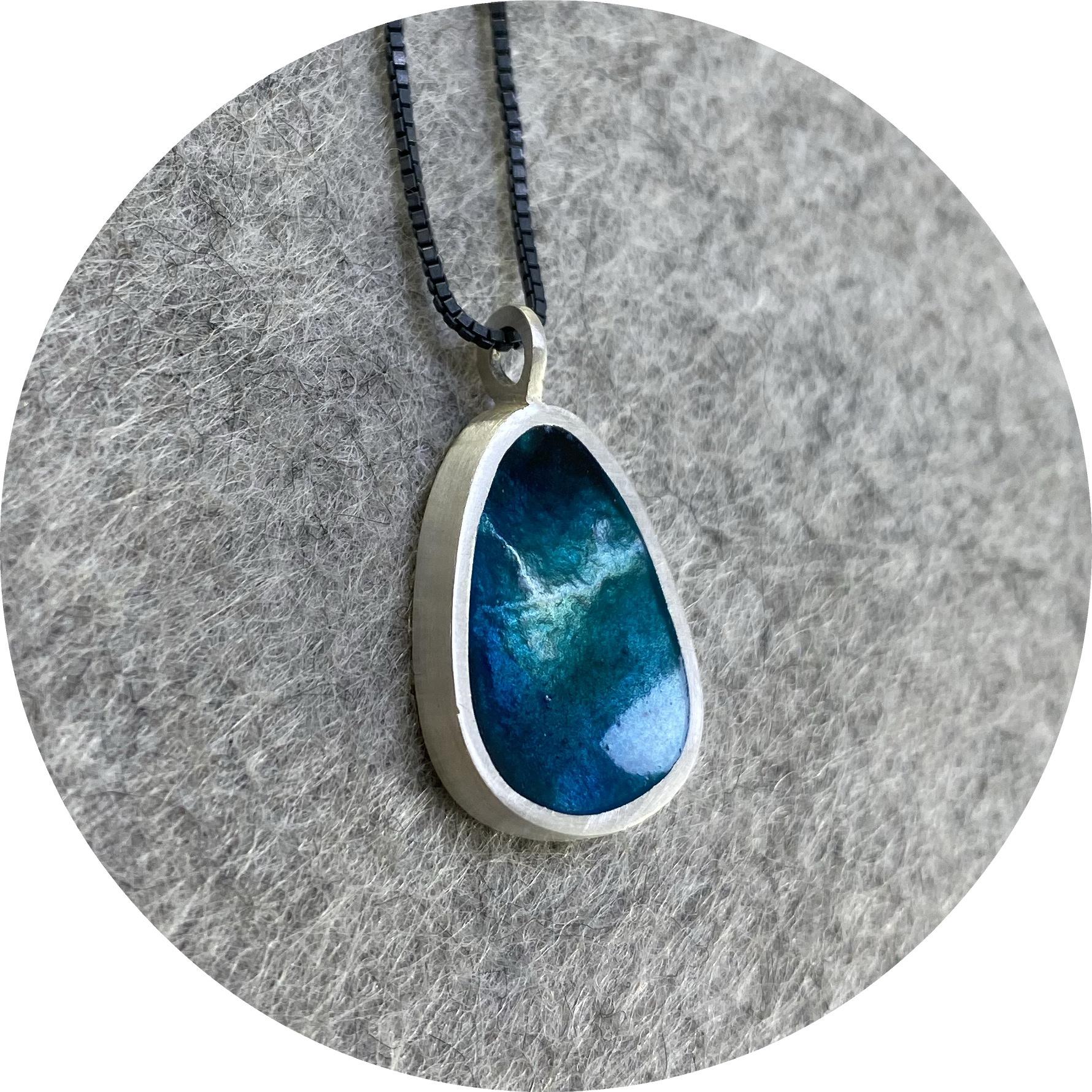 Robyn Clarke- Small retic enamel pendant on oxidised box chain.