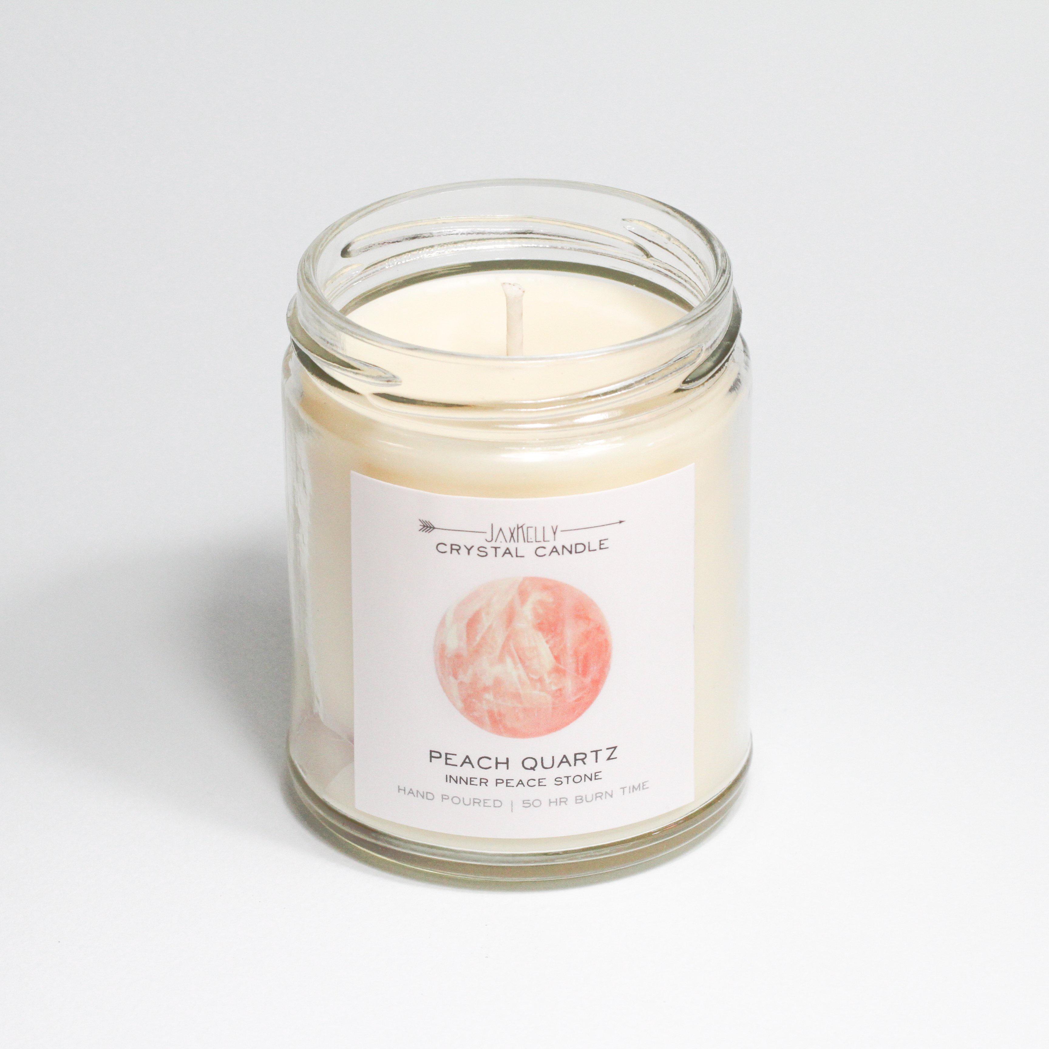 Peach Quartz Crystal Candle - Inner Peace