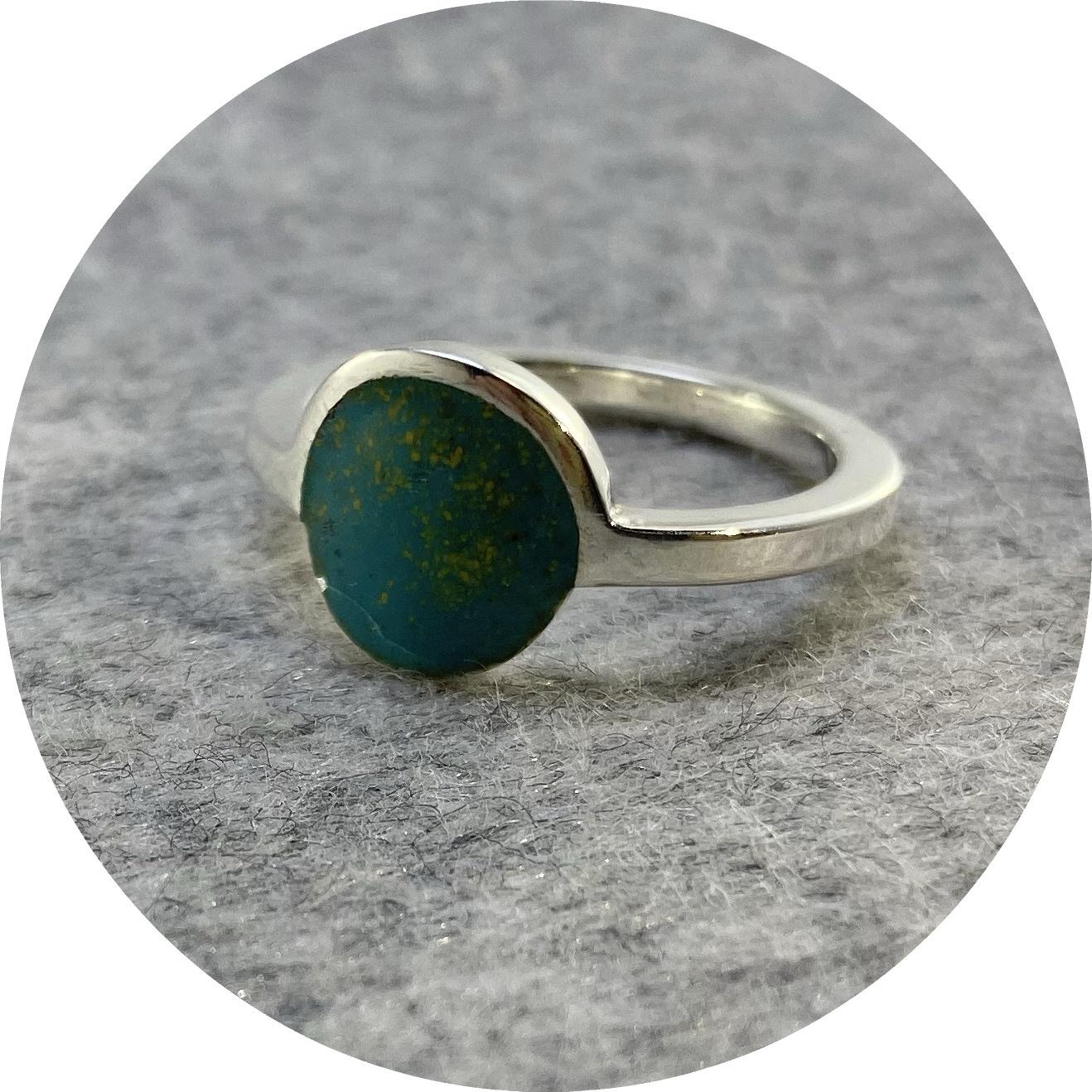 Danielle Lo, Sunrise Ring,925 Silver, Enamel, Teal, N1/2