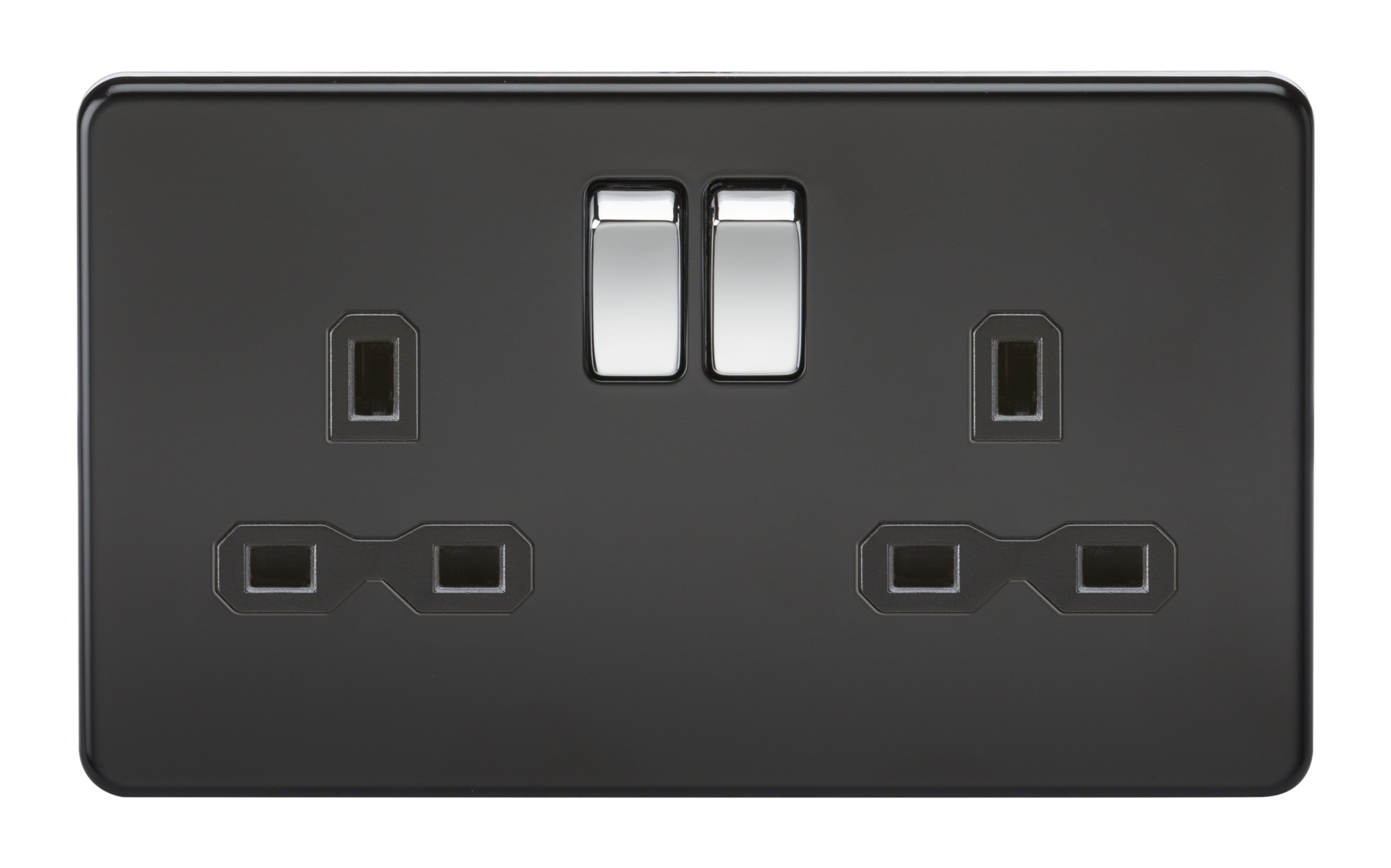 SCREWLESS 13A 2G DP SWITCHED SOCKET - MATT BLACK W/CHROME ROCKER