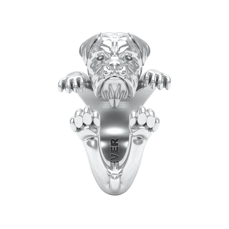 Dogue De Bourdeaux Sterling Silver Hug Ring
