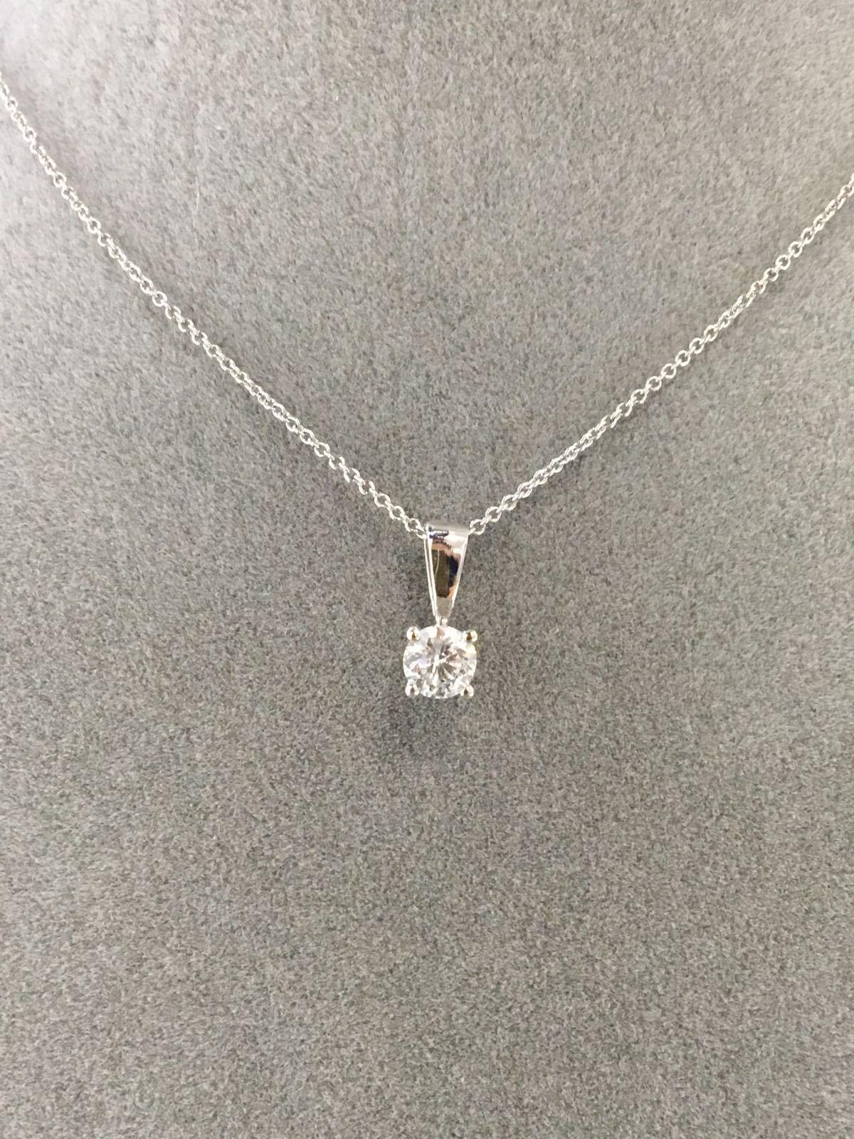 White Gold Round Diamond Pendant