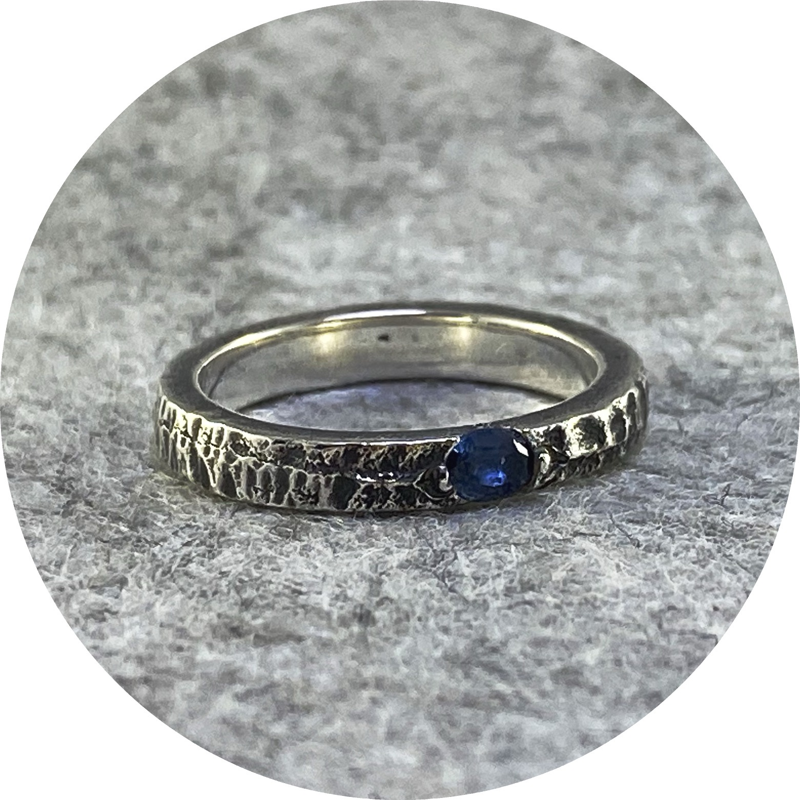 Kirra-Lea Caynes- Sapphire, blue cast in place into sterling silver.