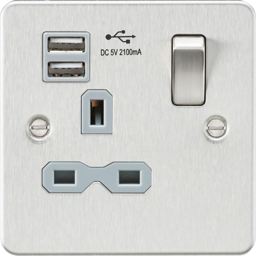 Flat plate 13A 1G switched socket with dual USB charger - brushed chrome with grey insert