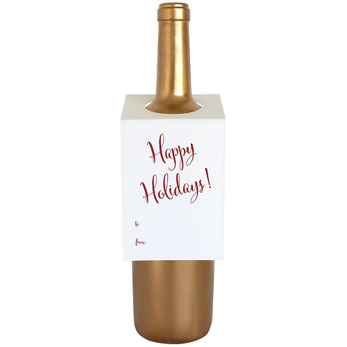 Happy Holidays Wine Tag | Red