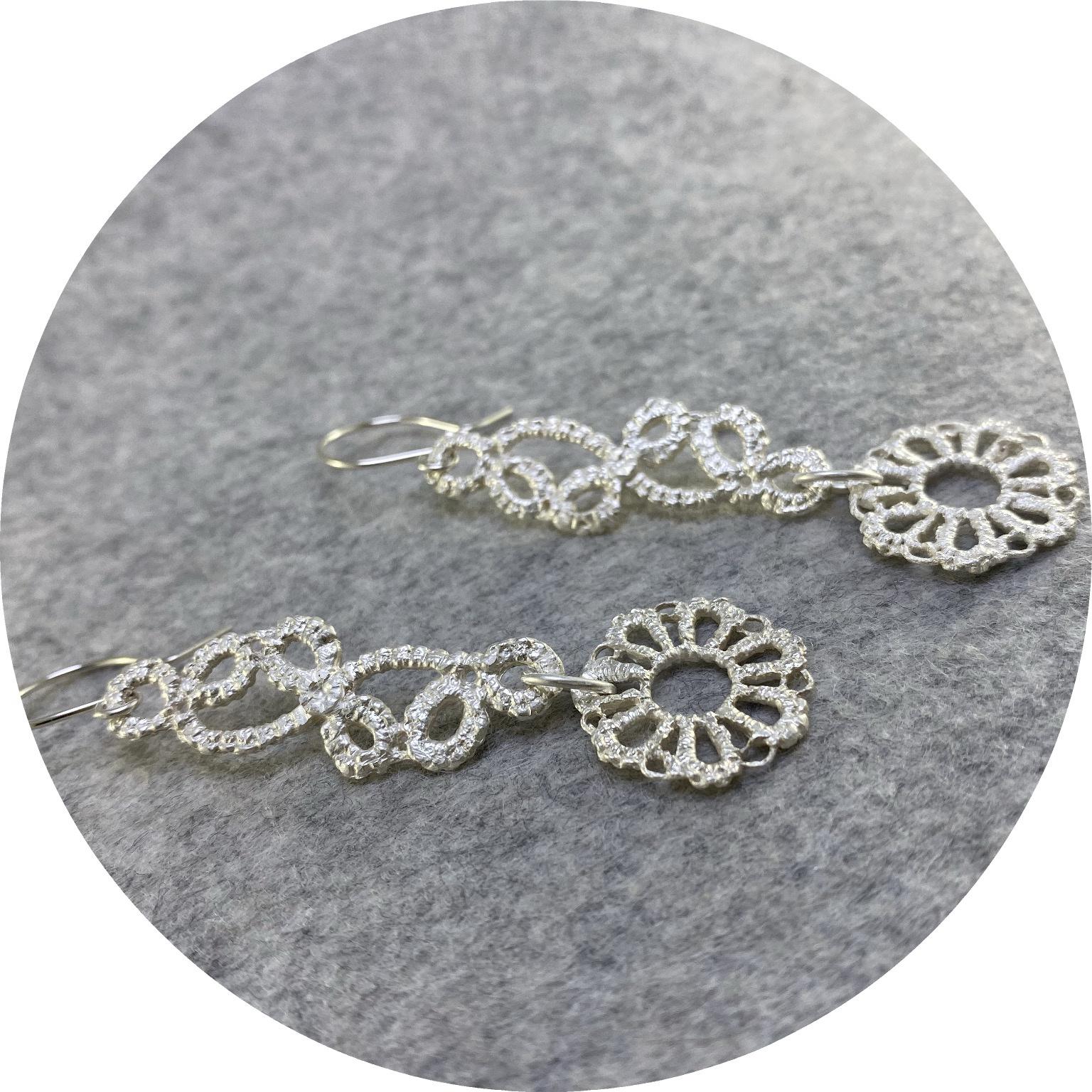 Pamela Camille- Tatted 7 petal flower lace drop leaf/stem earring. sterling silver.