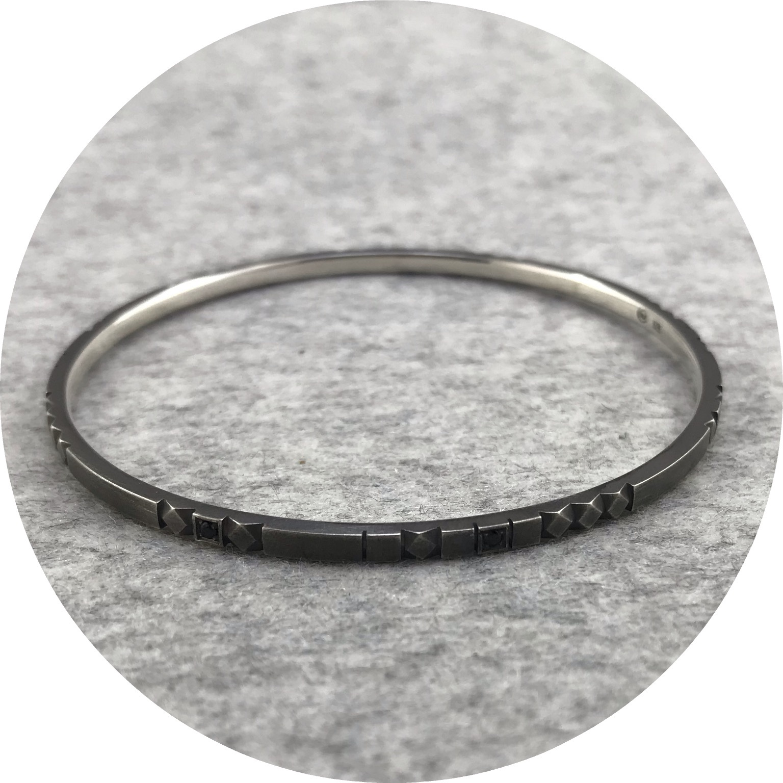 Eli Speaks - Mosaico Bangle in Brushed Oxidised Sterling Silver with Black Spinels.