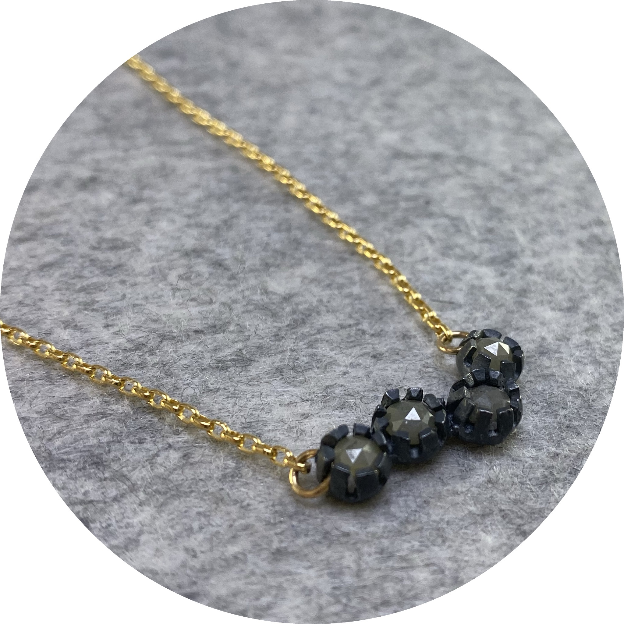 Katie Shanahan - 4 Rose Cut Diamonds in Oxidised Sterling Silver and 9 Ct Yellow Gold Chain