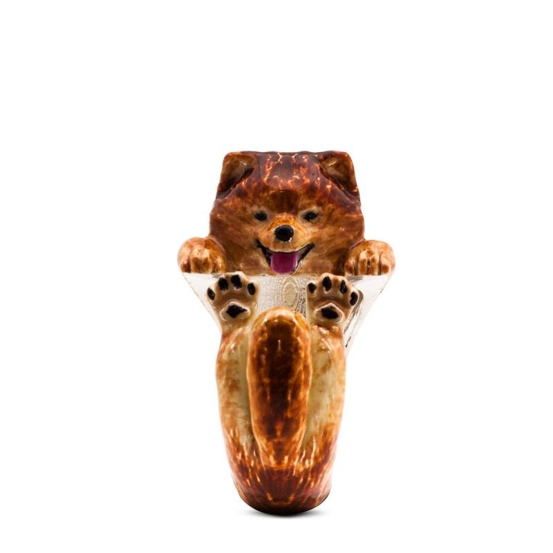 Pomeranian Spitz Enamelled Sterling Silver Hug Ring