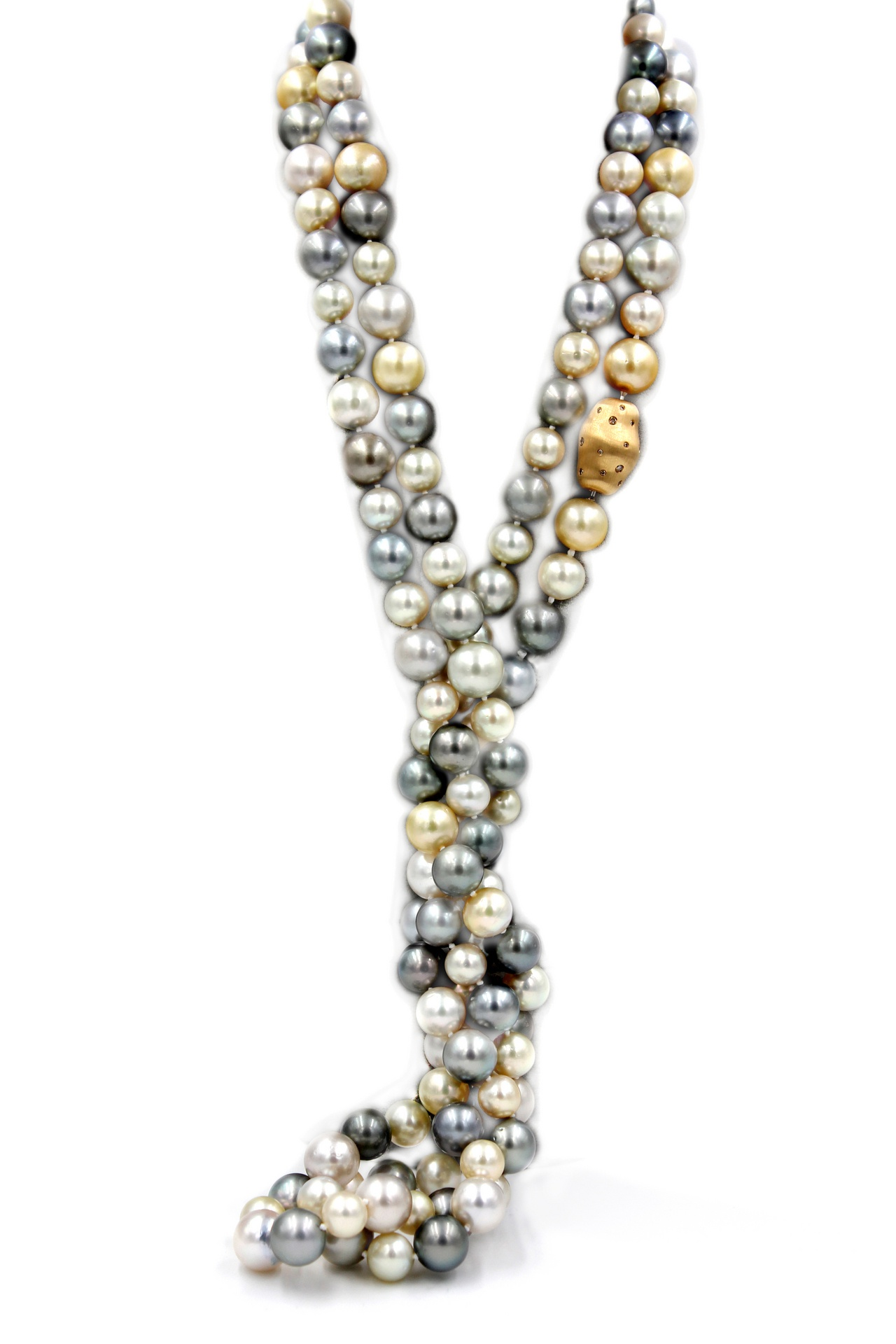 Variety of South Sea Pearls Necklace with Gold Diamond Clasp