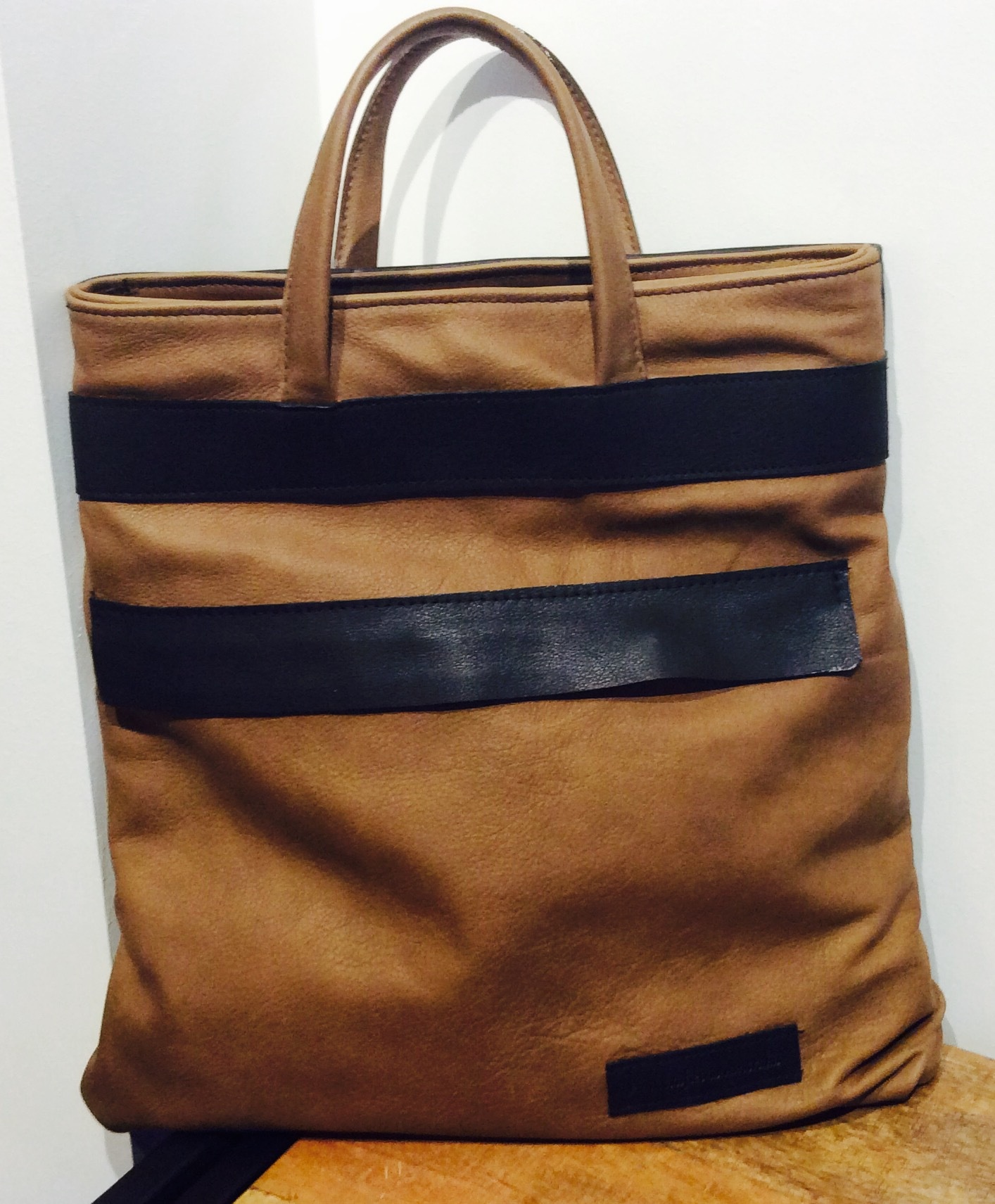 Taupe and Black Leather Urban Back Pack/Tote