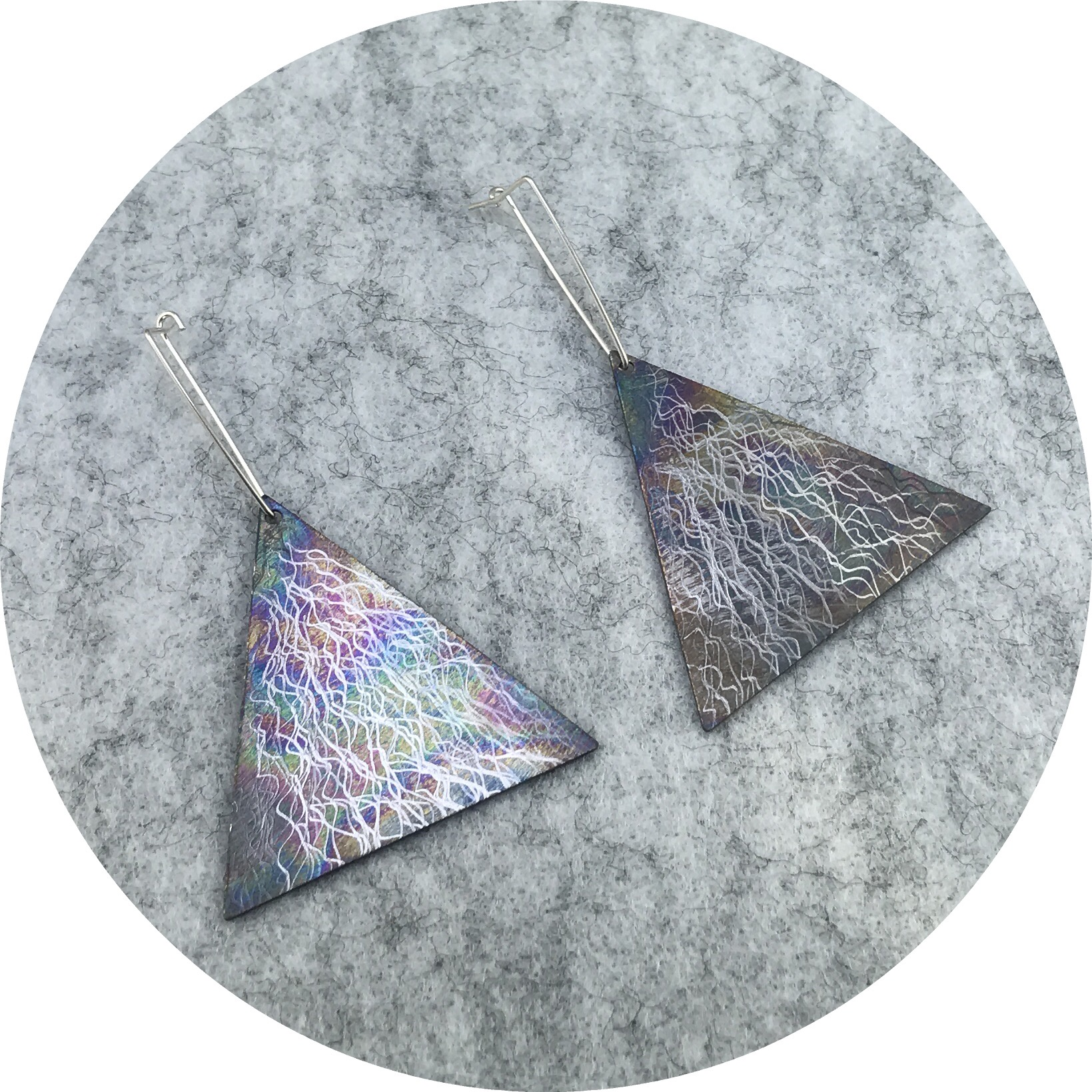 Tanja Von Behrens - Large Triangle Lighting Storm Earrings in Sterling Silver and Heat Coloured Titanium