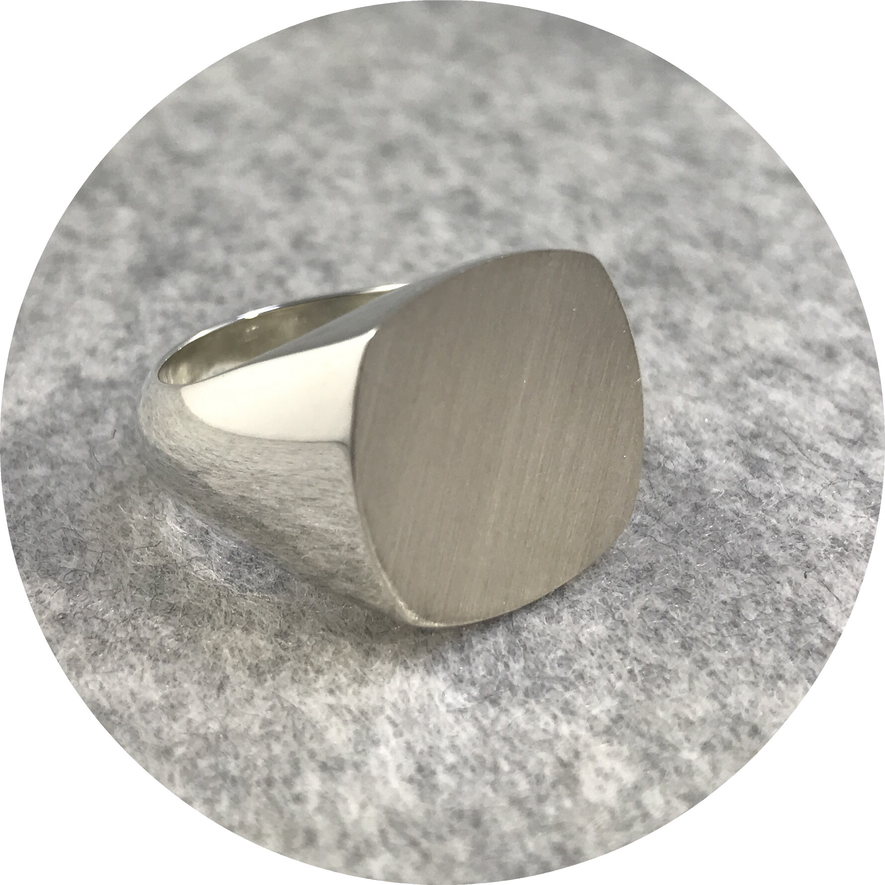 Fin Mahon- Rounded Square Flat top signet ring. Solid sterling silver. size U
