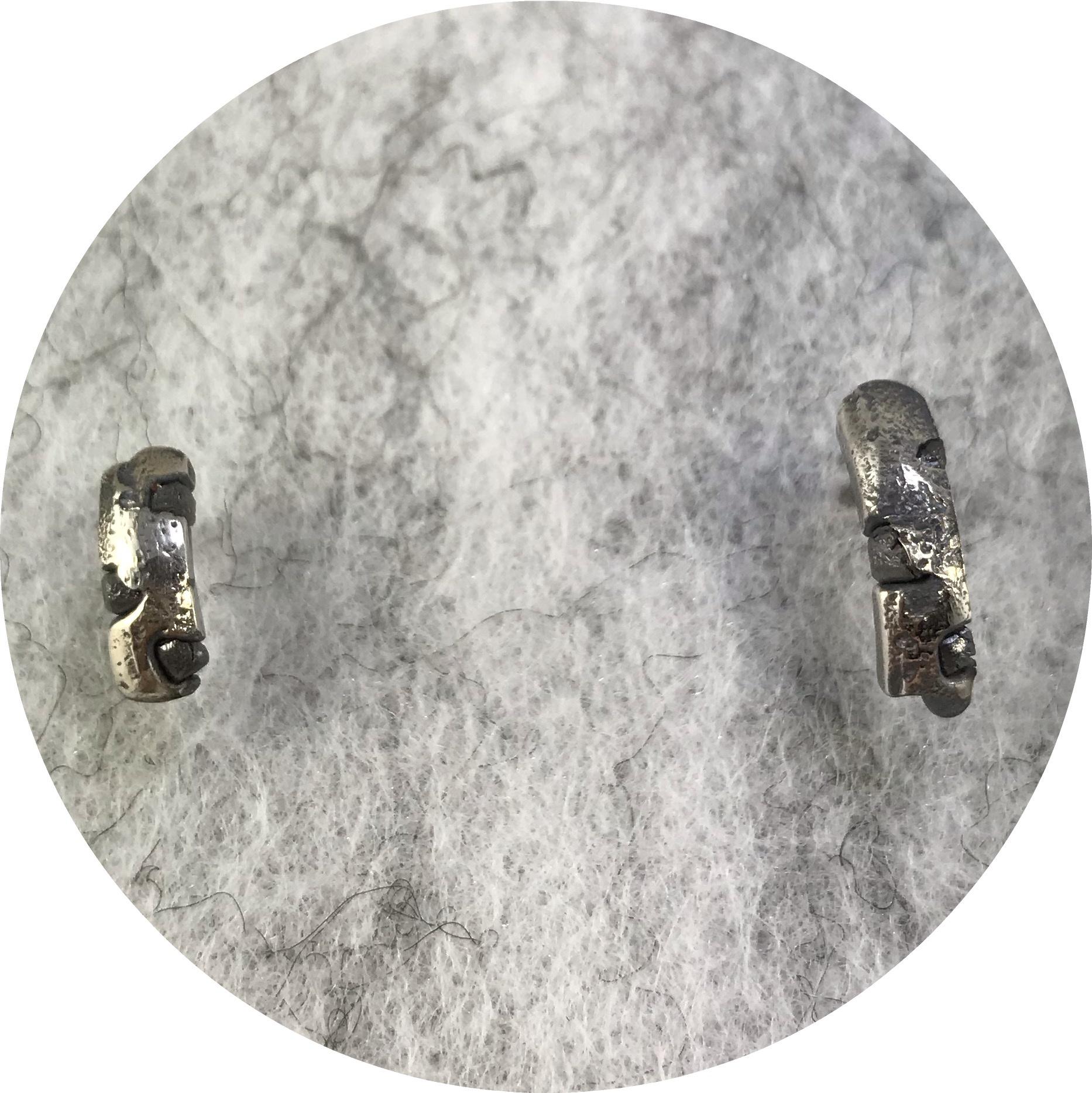 Kirra-Lea Caynes - 'Small Stud Earrings with Rough Diamonds', 925 silver, diamond