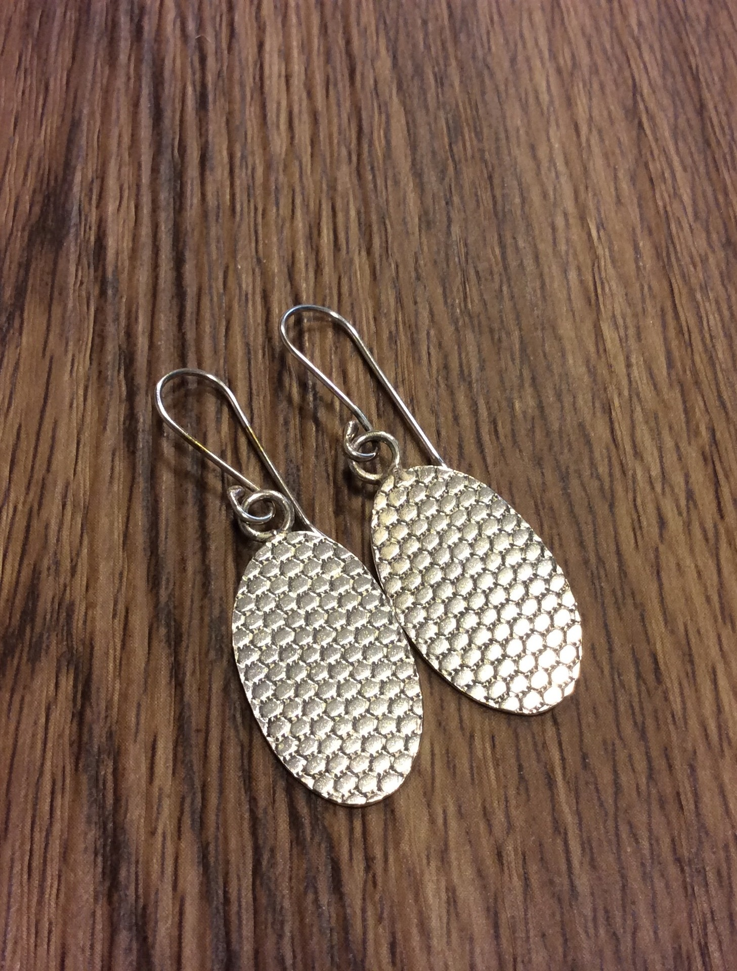 Sterling Silver Oval earrings with oxidised finish