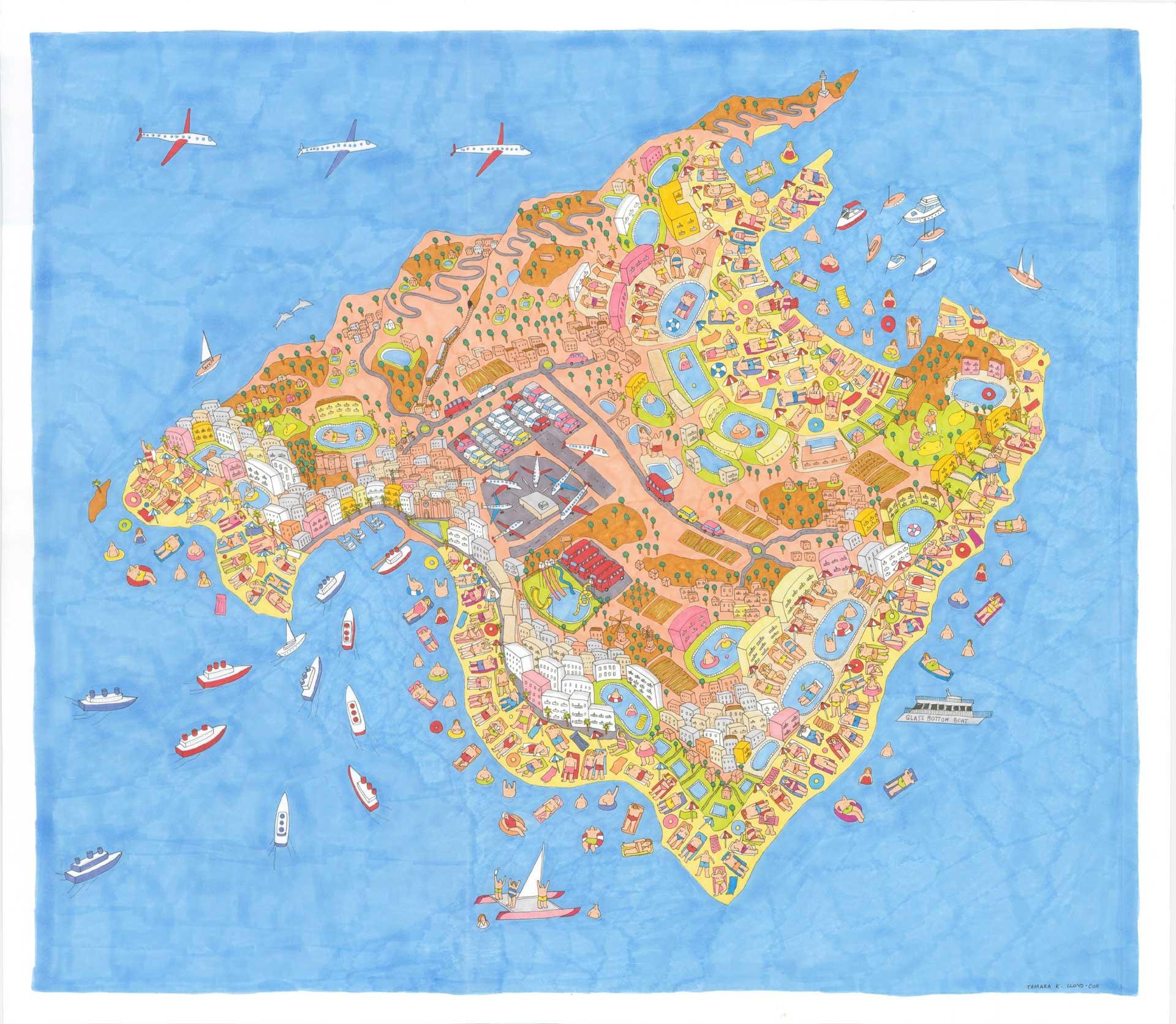Illustrated Mallorca Map   Print Only on malta map, catalonia independence map, mediterranean sea map, barcelona map, canary islands map, palma map, world map, menorca map, lanzarote map, hong kong map, pyrenees mountains map, copenhagen map, naples map, majorca map, croatia map, ibiza map, malaga map, poland map, marseille map,