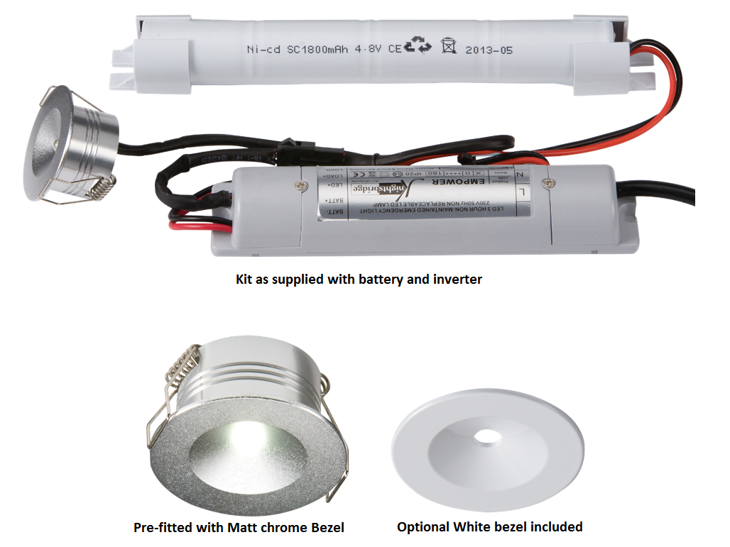 230V IP20 3W LED Emergency Downlight (non-maintained use only)