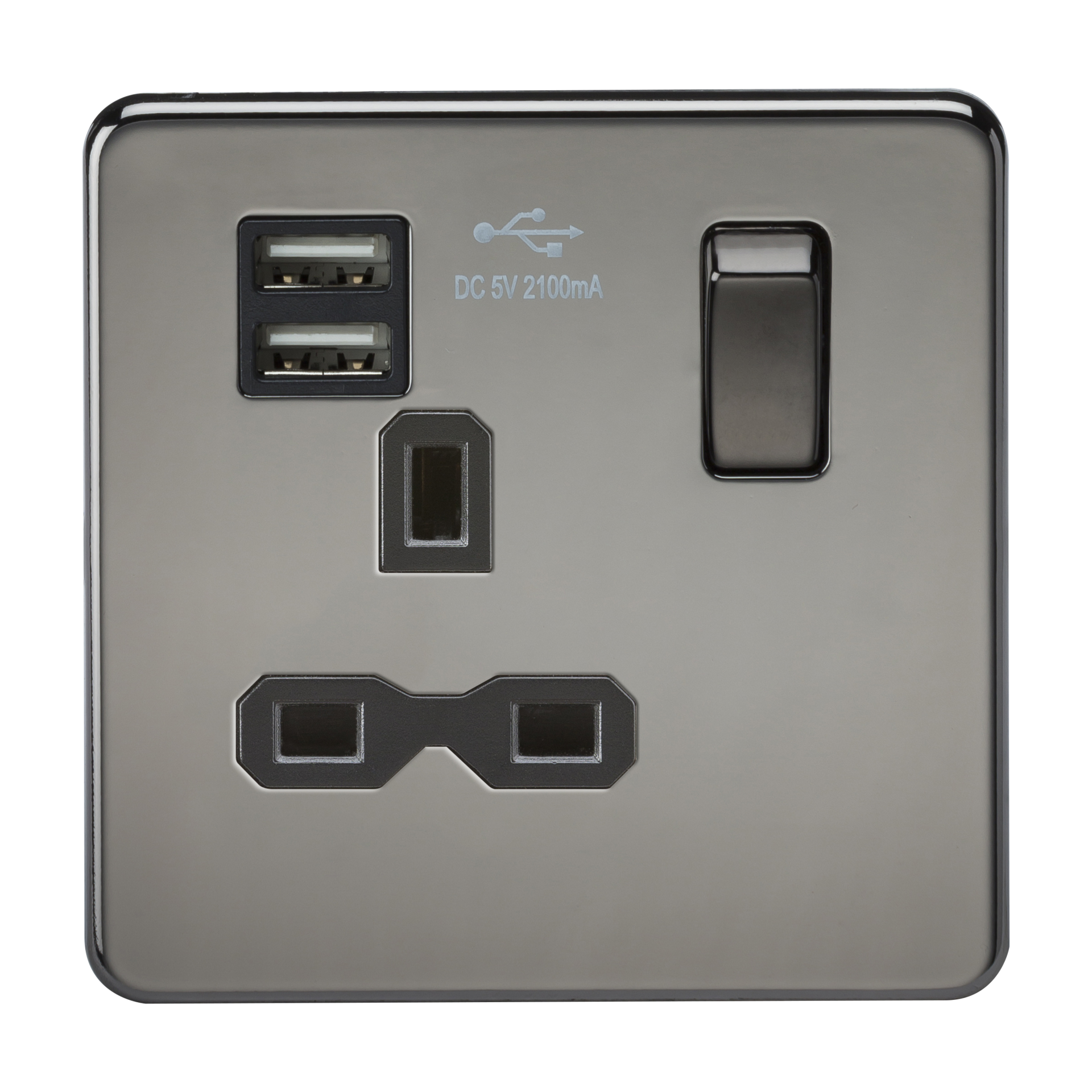 SCREWLESS 13A 1G SWITCHED SOCKET WITH DUAL USB CHARGER - BLACK NICKEL WITH BLACK INSERT