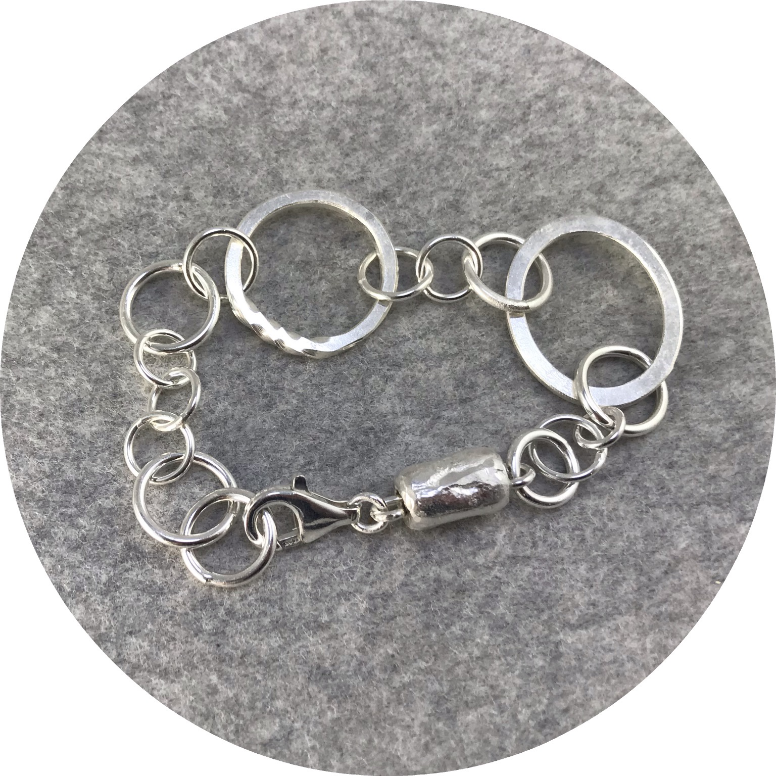 Ellinor Mazza - 'Chain Bracelet with Bead', 925 silver, 999 silver