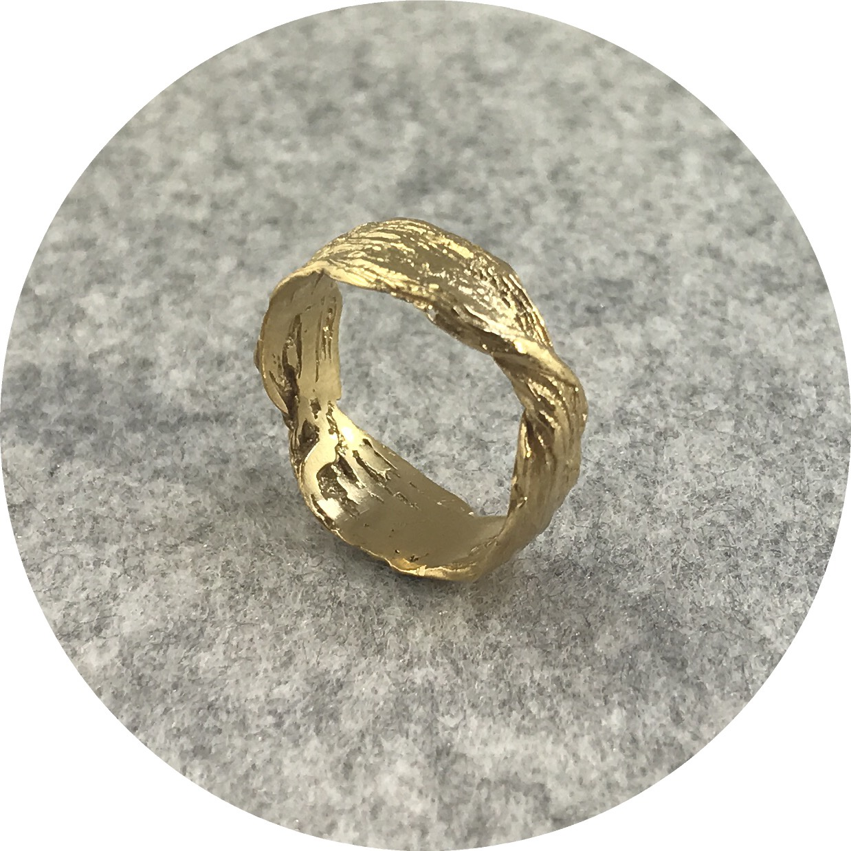 Antonia Field- Sterling Silver double twist ring gold plated,  size P