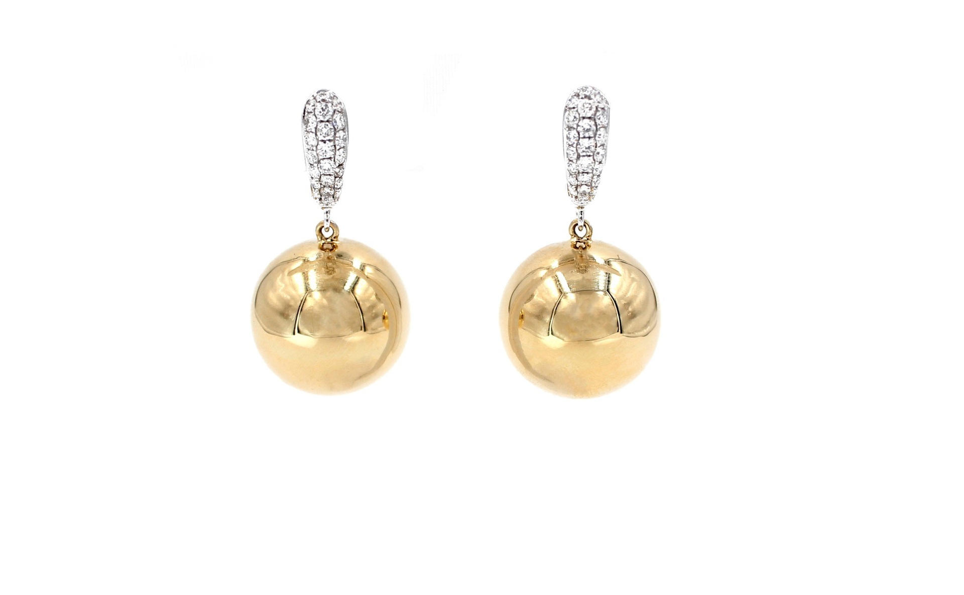 Golden Globe Sphere Diamond Earrings