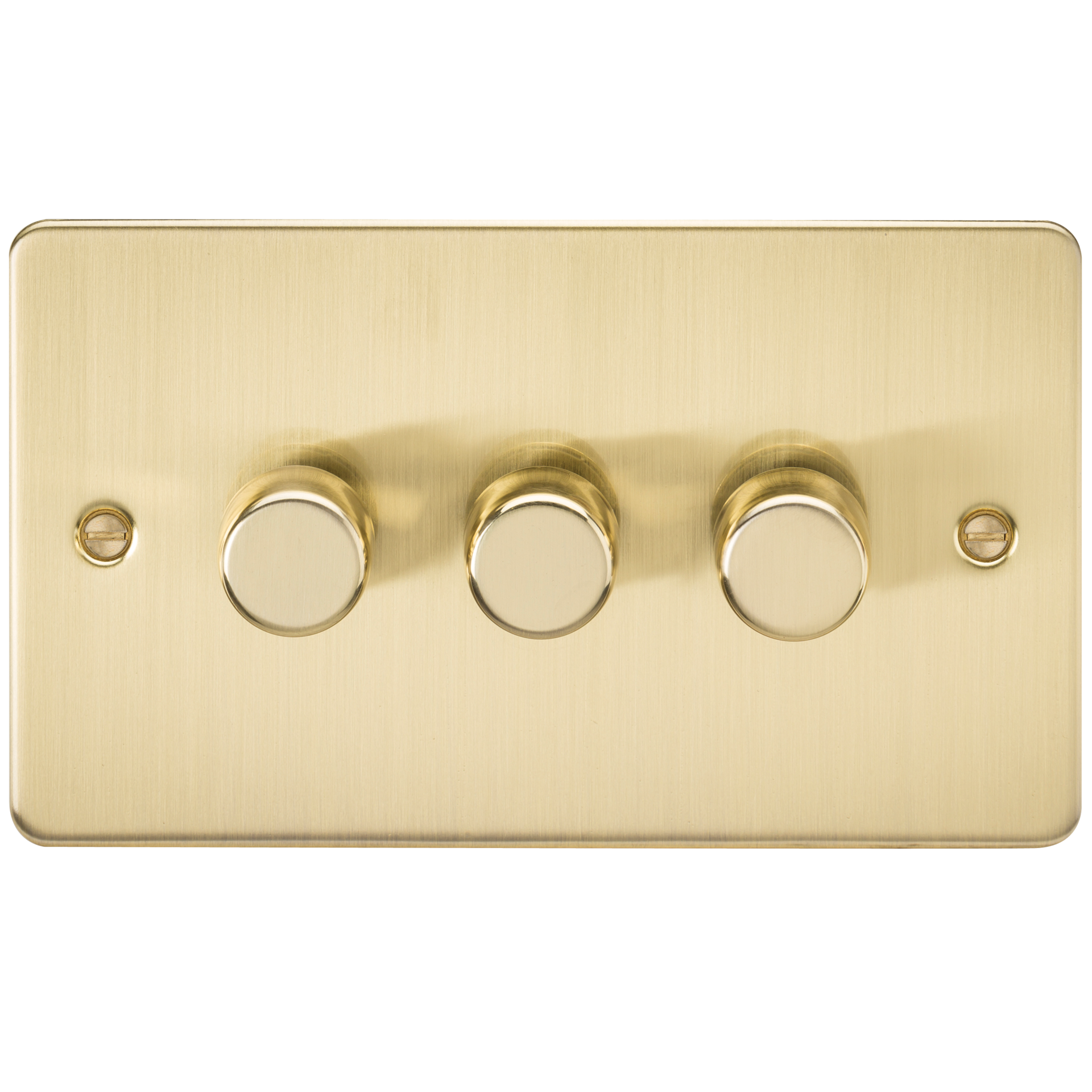 FLAT PLATE 3G 2 WAY 40-400W DIMMER - BRUSHED BRASS