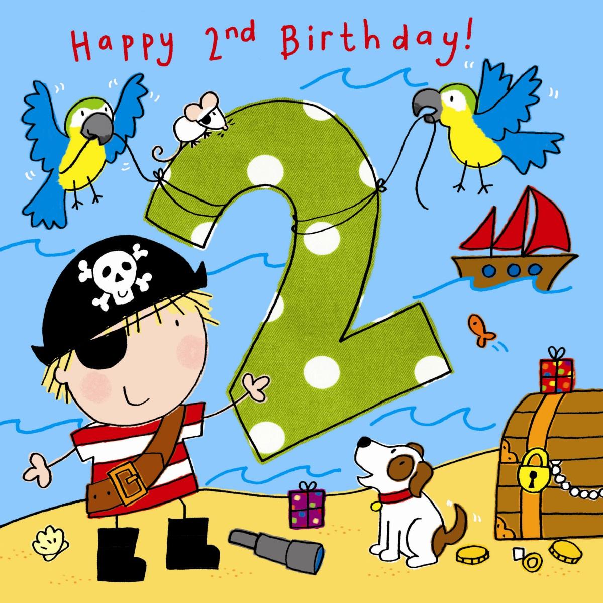 Age 2 Boys Pirate Birthday Card Tw741 Childrens Birthday Cards