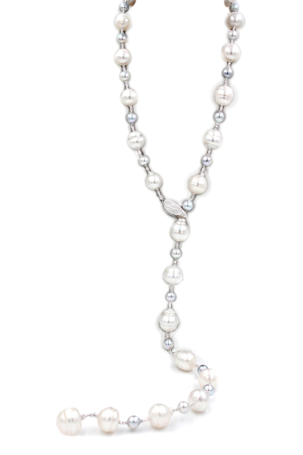 White and Silver South Sea Pearl Necklace