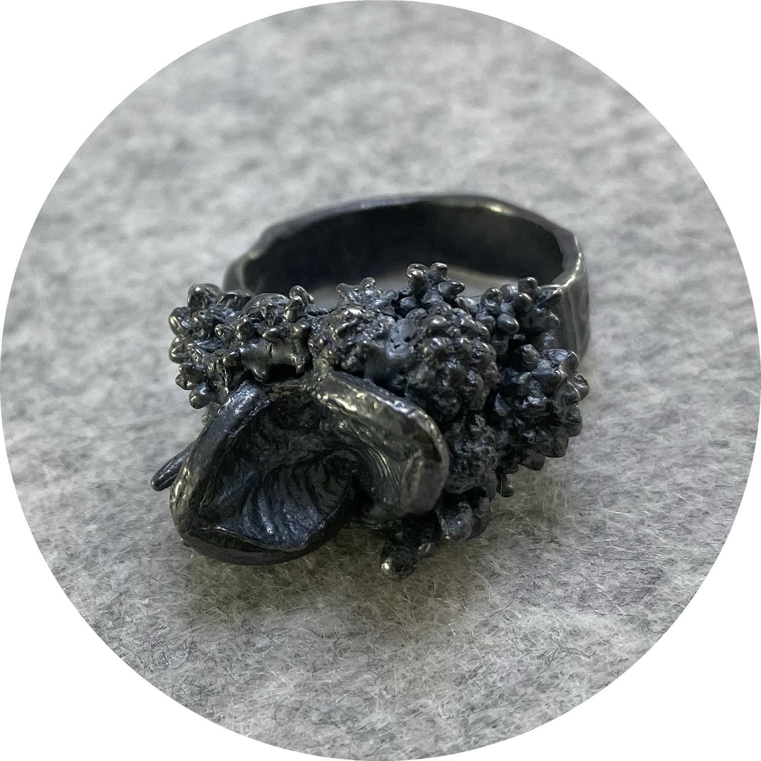 Manuela Igreja- Enchanted Forrest ring. Oxidised Sterling silver. size Q 1/2