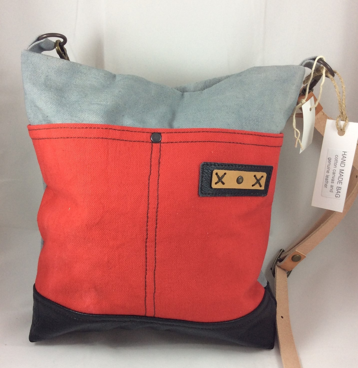 Grey, Red and Black Cross Body Tote Bag