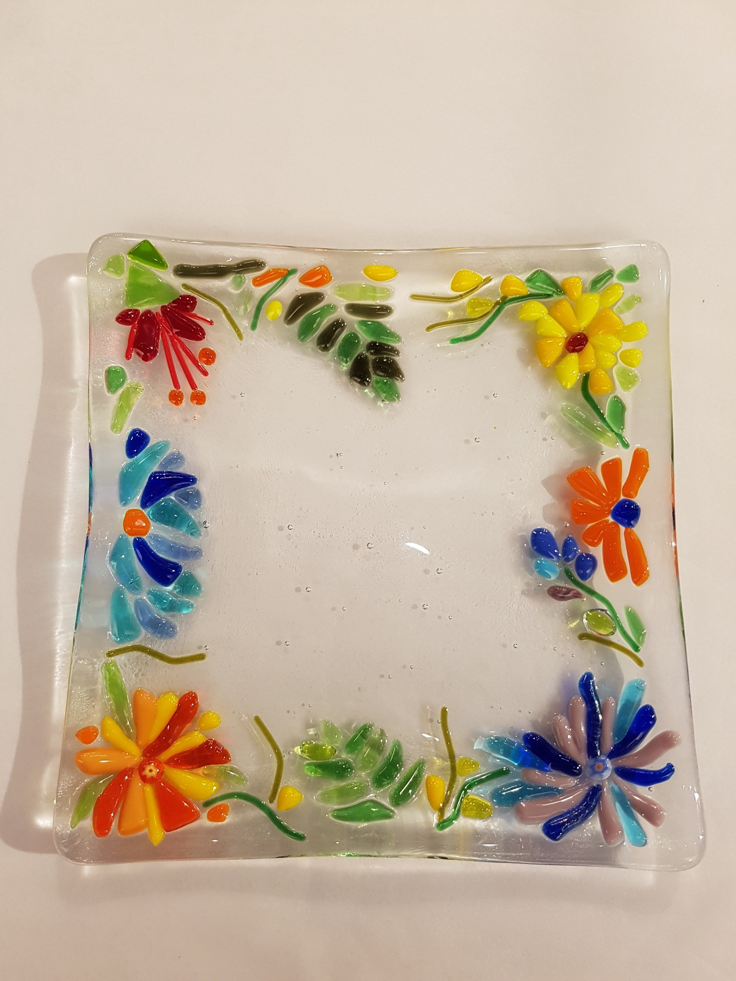 Square Glass Flower Plate