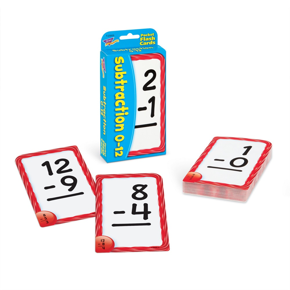 T 23005 SUBTRACTION 0-12 POCKET FLASH CARDS