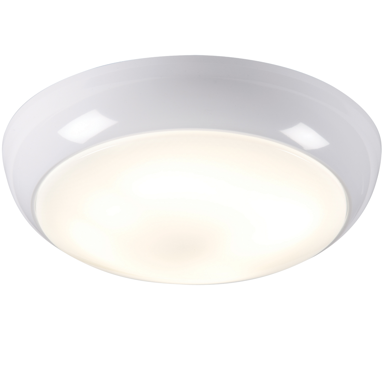 IP44 28W HF Polo bulkhead with Opal Diffuser, White Base and Microwave Sensor