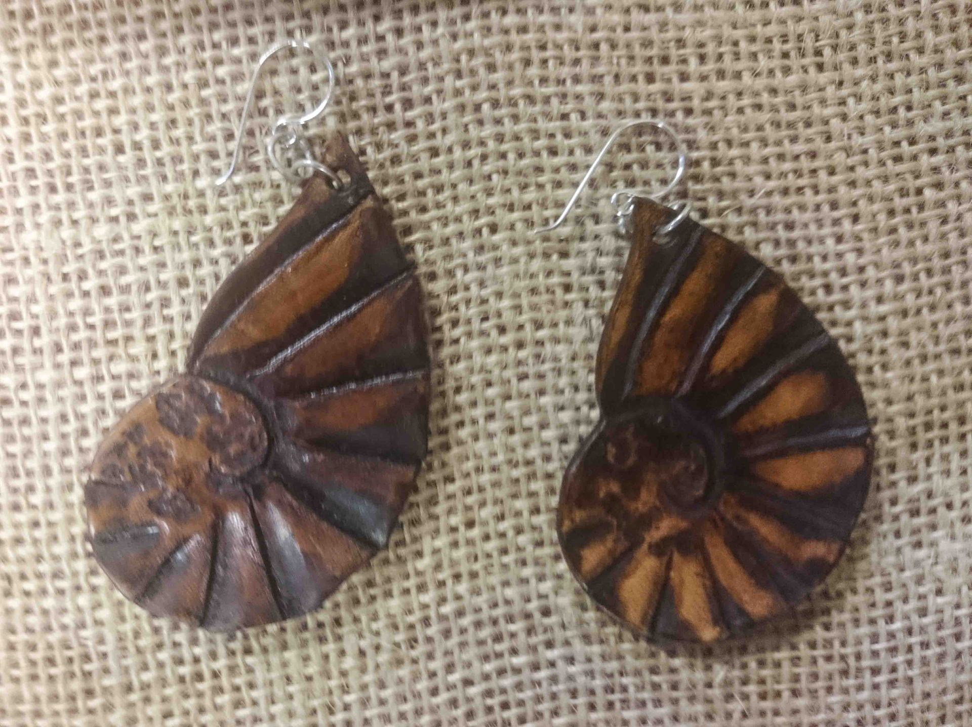 Leather Kauri Snail Earrings