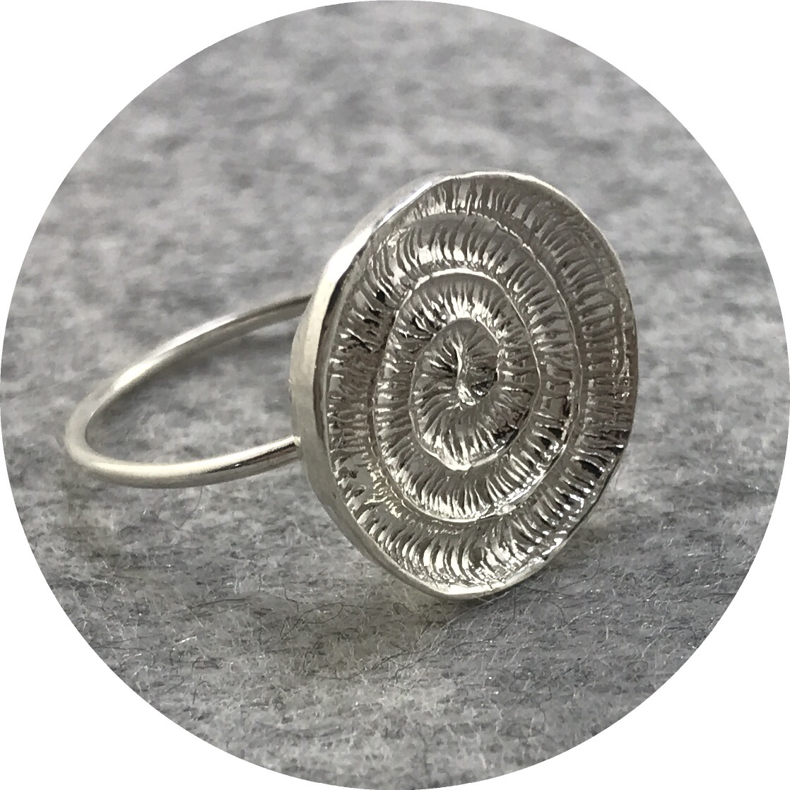 Abby Seymour- Ammonite Ring. Sterling silver. size O.